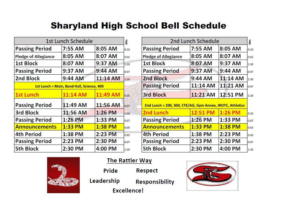 Daily Bell Schedule - Sharyland High School