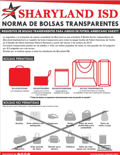 clear bag policy Spanish